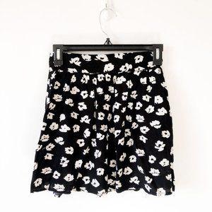 Garage Black White Floral Twirl Skirt XS